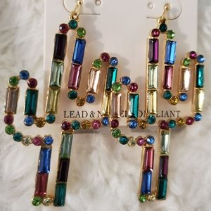 Fabulous statement earrings sparkly crystals NWT!